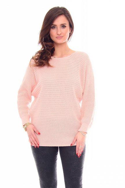 Sweter damski oversize CMK923 morelowy