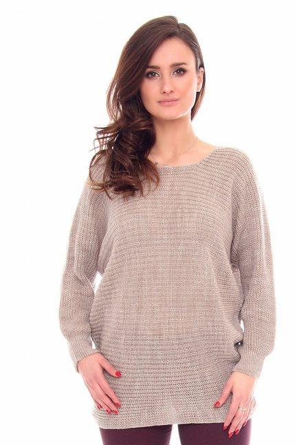 Sweter damski oversize CMK923 beżowy