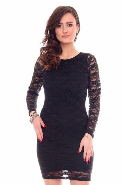 Sukienka koronkowe rękawy CMK924 czarna