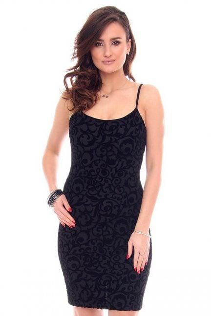 Sukienka welurowe wzory CMK927 czarna