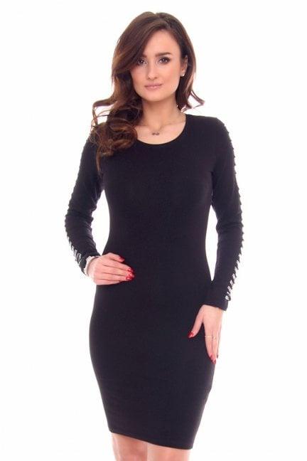 Sukienka wycięte rękawy CMK929 czarna