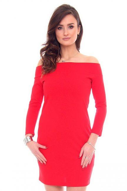Sukienka odkryte ramiona CM531 czerwona