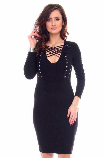 Sukienka ołówkowa dekolt CMK930 czarna