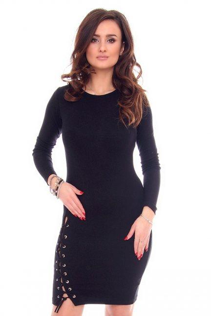 Sukienka wiązany rozporek CMK931 czarna