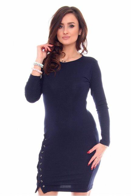 Sukienka wiązany rozporek CMK931 granatowa