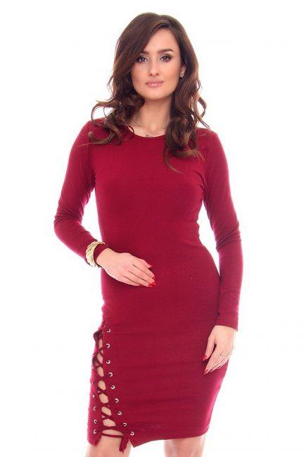 Sukienka wiązany rozporek CMK931 bordowa