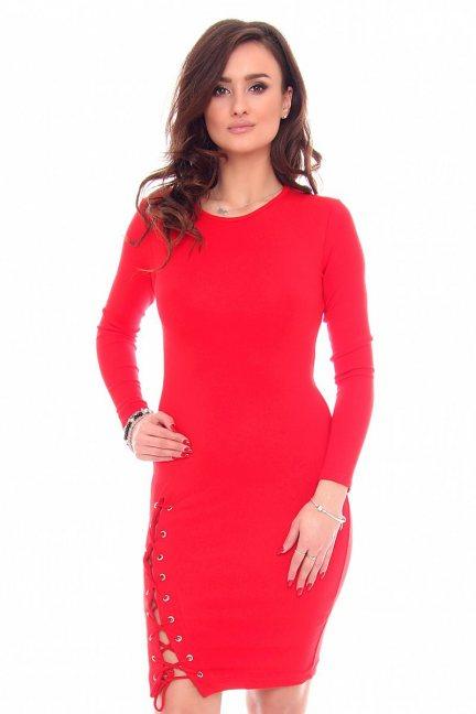 Sukienka wiązany rozporek CMK931 czerwona
