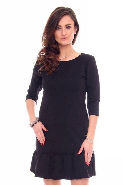 Sukienka gładka falbanka CM211-1 czarna