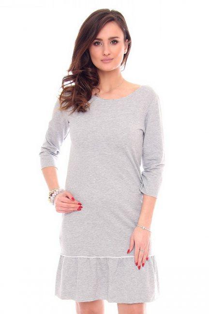 Sukienka gładka falbanka CM211-1 szara
