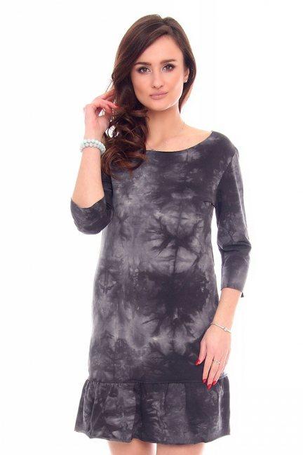 Sukienka marmurek falbanka CM211-1 grafitowa