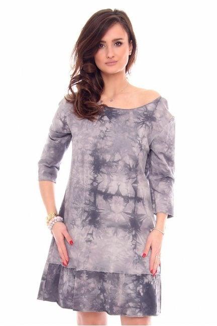 Sukienka marmurek falbanka CM211-1 szara