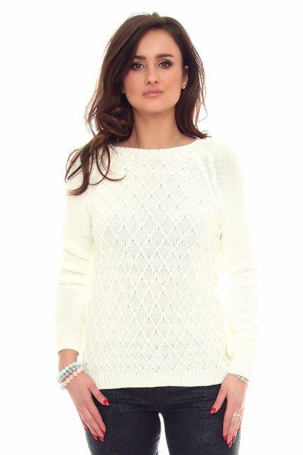 Sweter romby ciepły CMK2014 ecru