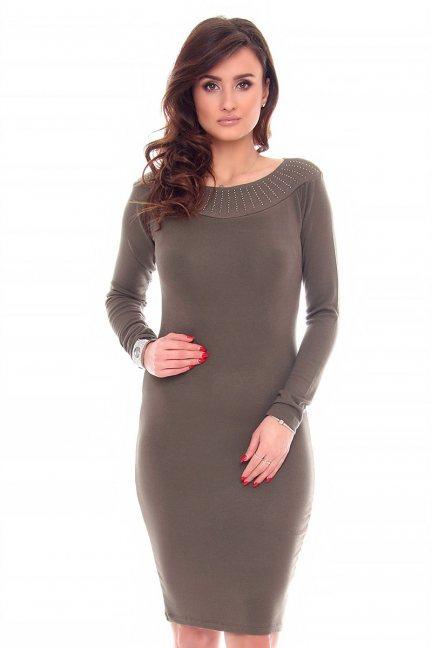 Sukienka dopasowana cekiny CMK932 khaki