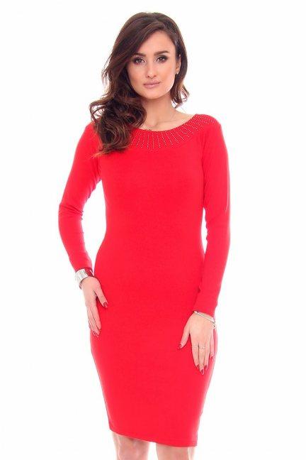 Sukienka dopasowana cekiny CMK932 czerwona