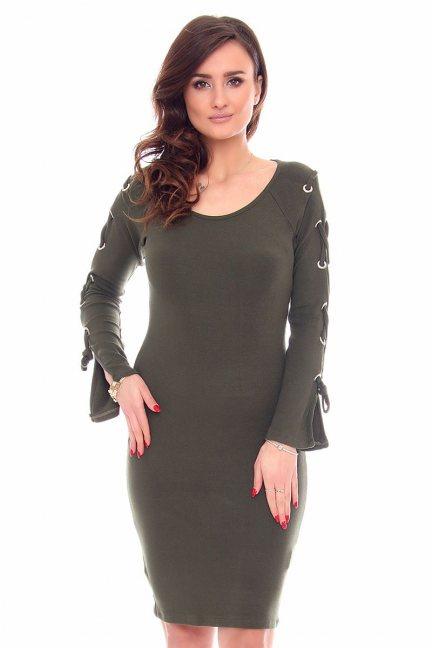 Sukienka wiązane rękawy CMK933 zielona