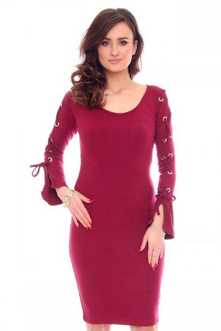 Sukienka wiązane rękawy CMK933 bordowa