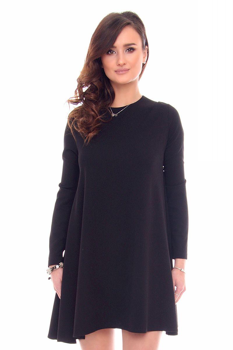 a56950402e Sukienka trapezowa mini CM532 czarna sukienki trapezowe CosmosModa.pl