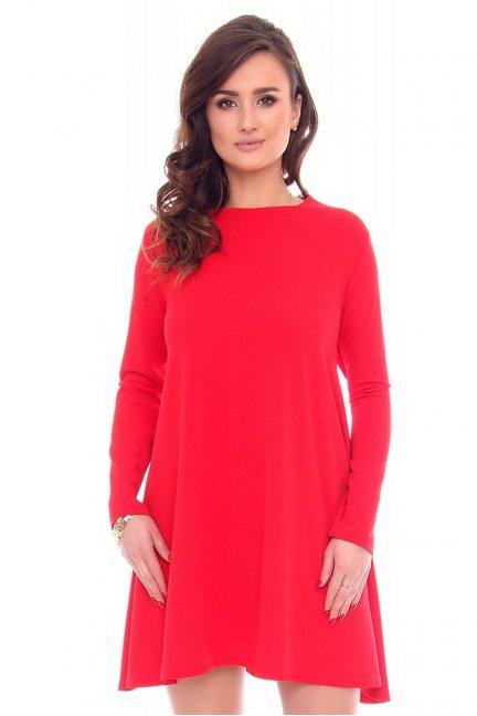 Sukienka trapezowa mini CM532 czerwona