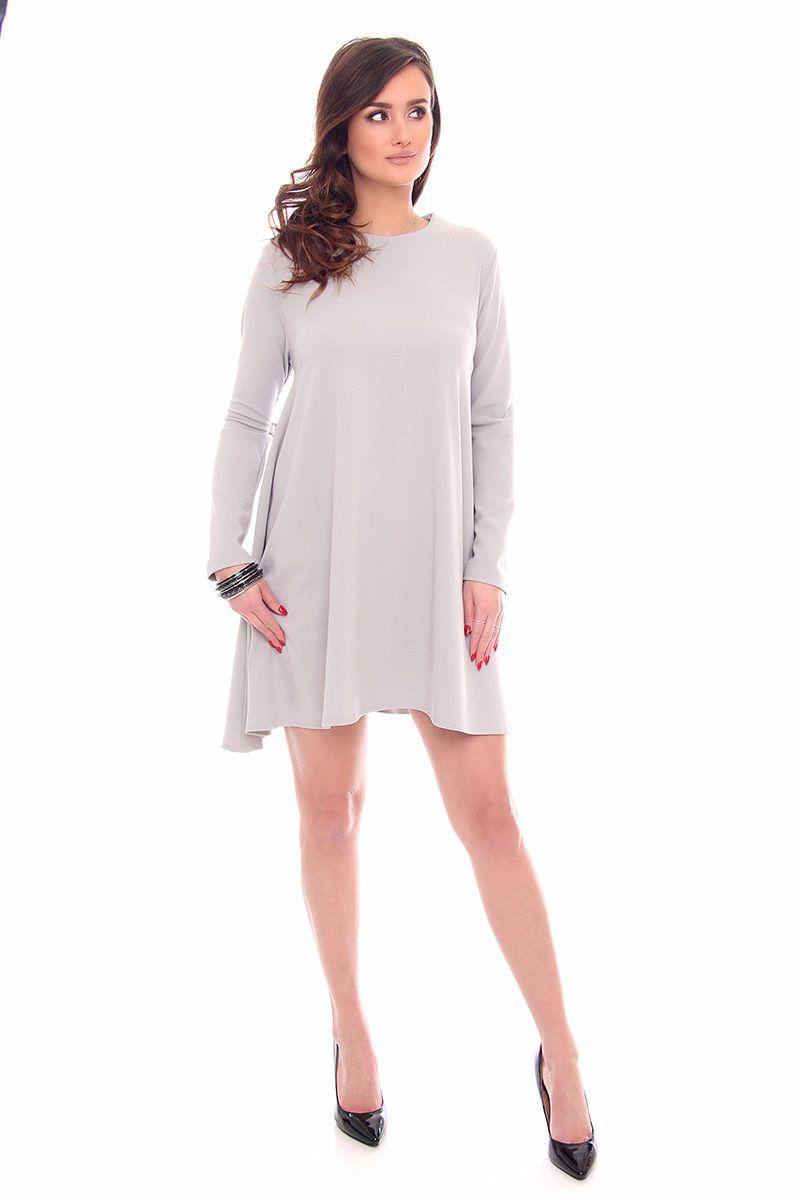 9bb5daffc2 Sukienka trapezowa mini CM532 szara sukienki trapezowe CosmosModa.pl
