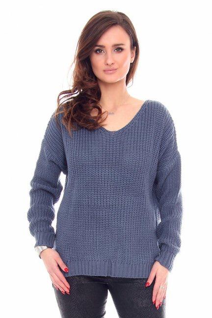 Sweter modny oversize CMK934 granatowy