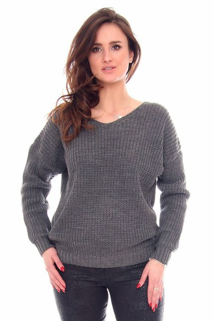 Sweter modny oversize CMK934 grafitowy