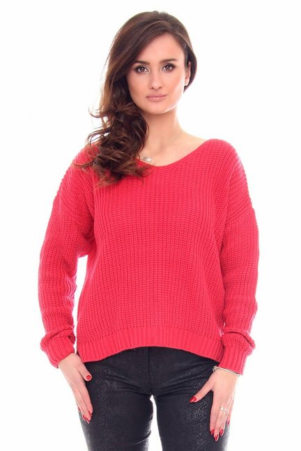Sweter modny oversize CMK934 koralowy