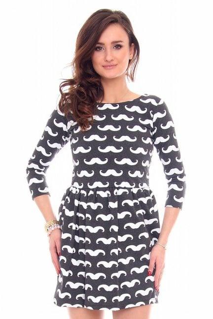 Sukienka dresowa w wąsy CM243 grafitowa
