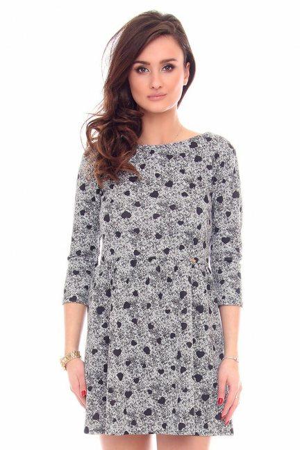 Sukienka dresowa w serca CM243 szara