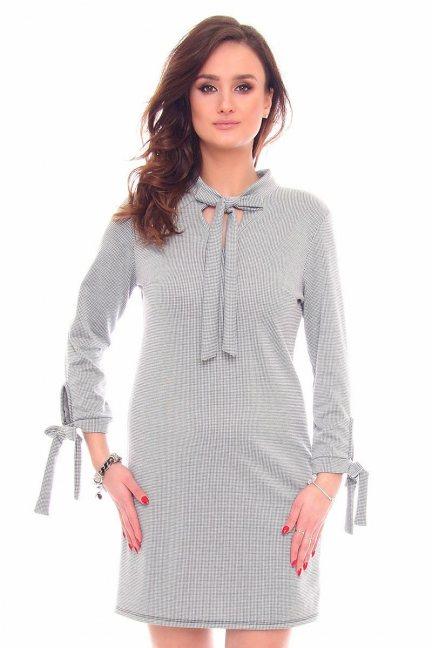 Sukienka mini w pepitkę CMK905 szara