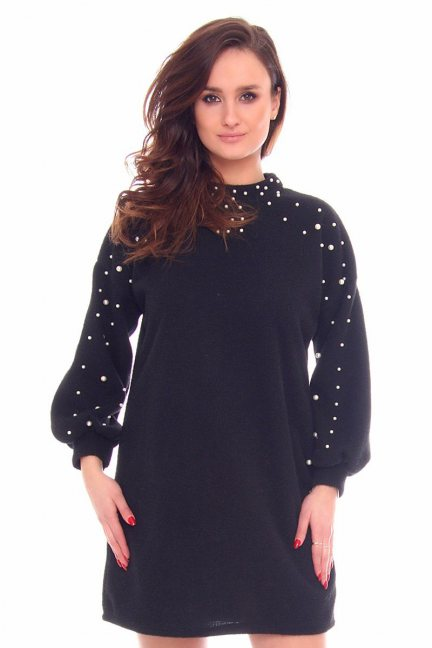 Sukienka bawełniana koraliki CMK893 czarna