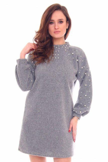Sukienka bawełniana koraliki CMK893 szara