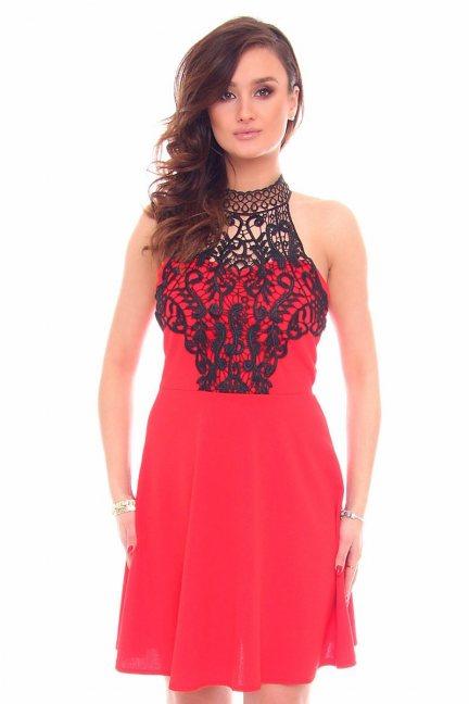 Sukienka wizytowa gipiura CMK903 czerwona