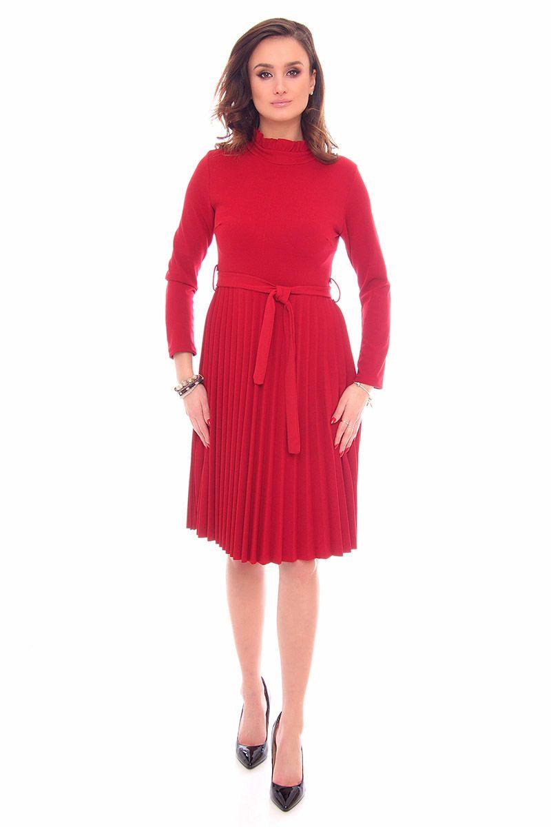 8a45b3764c Sukienka plisowana midi CMK906 bordowa modne sukienki sklep CosmosModa