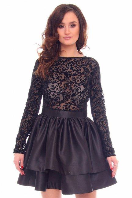 Sukienka rozkloszowana CMK899 czarna