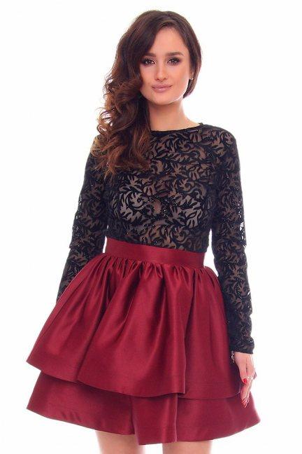Sukienka rozkloszowana CMK899 bordowa