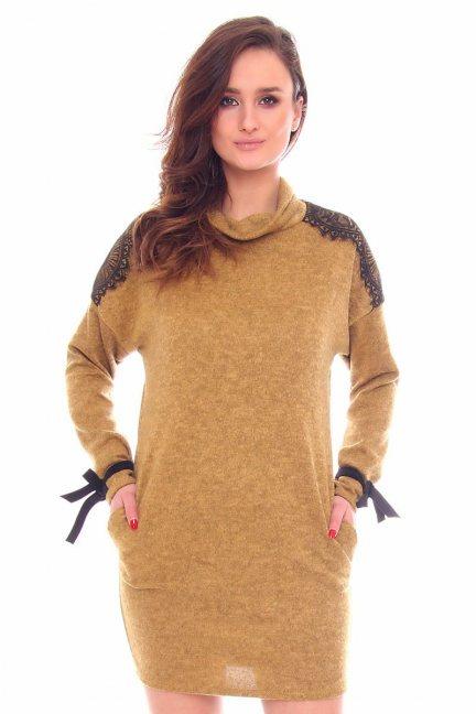 Sukienka modna kokardki CMK896 camel