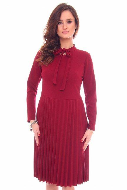 Sukienka plisowany dół CMK901 bordowa
