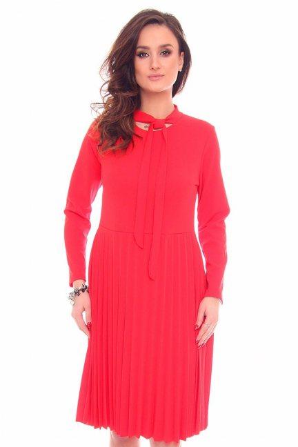 Sukienka plisowany dół CMK901 czerwona