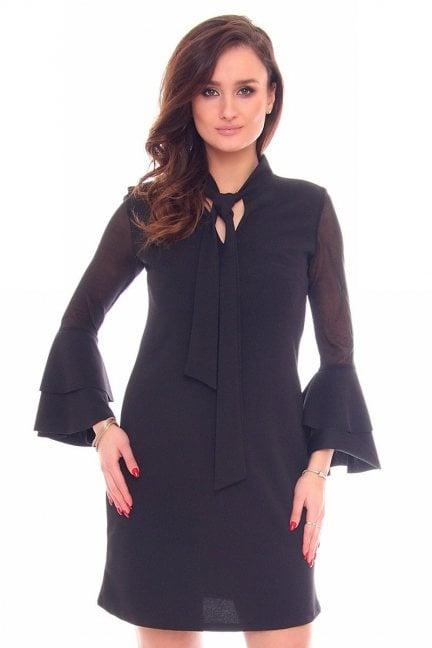 Sukienka elegancka wiązana CMK907 czarna