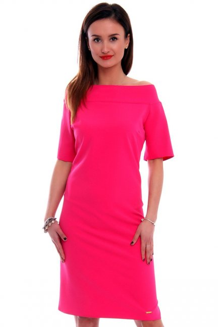 Sukienka ołówkowa midi CM446 fuksja