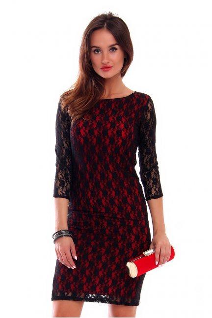 Sukienka ołówkowa z koronki CMK236 czarna