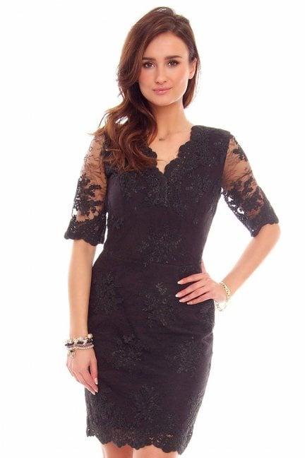 Sukienka koronkowa CMK707 czarna