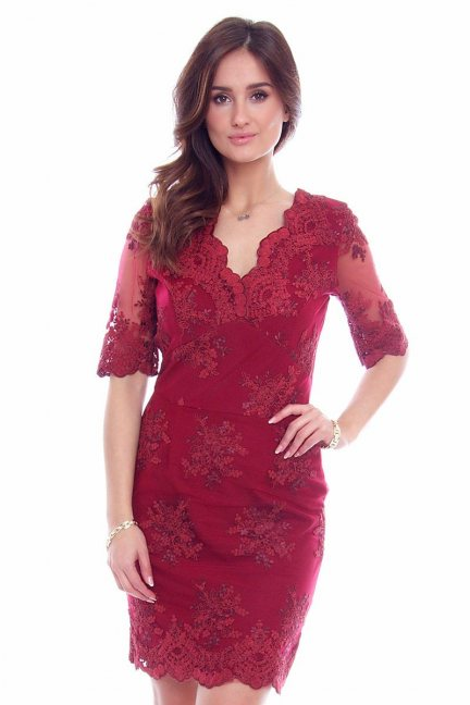 Sukienka koronkowa CMK707 bordowa