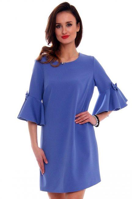 Trapezowa sukienka z kokardkami CM579 chabrowa