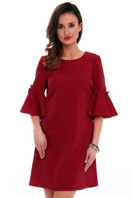 Sukienka z kokardkami CM579 bordowa