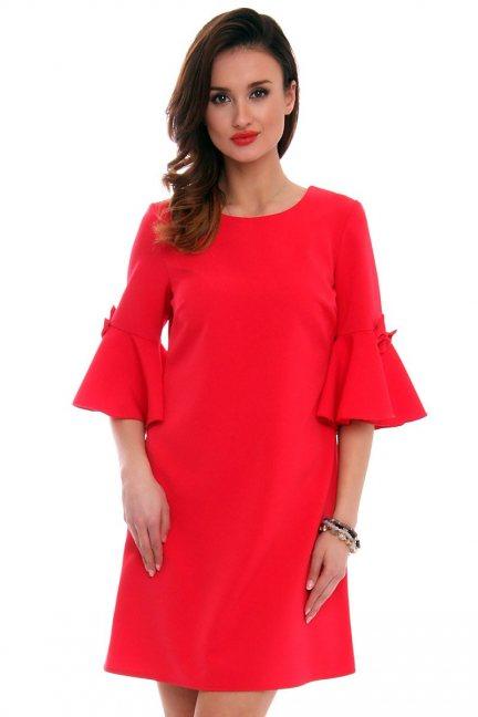 Trapezowa sukienka z kokardkami CM579 czerwona