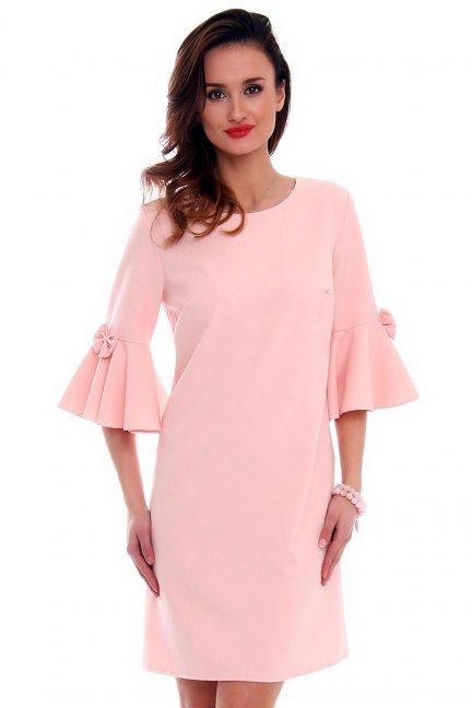 Trapezowa sukienka z kokardkami CM579 pudrowy róż