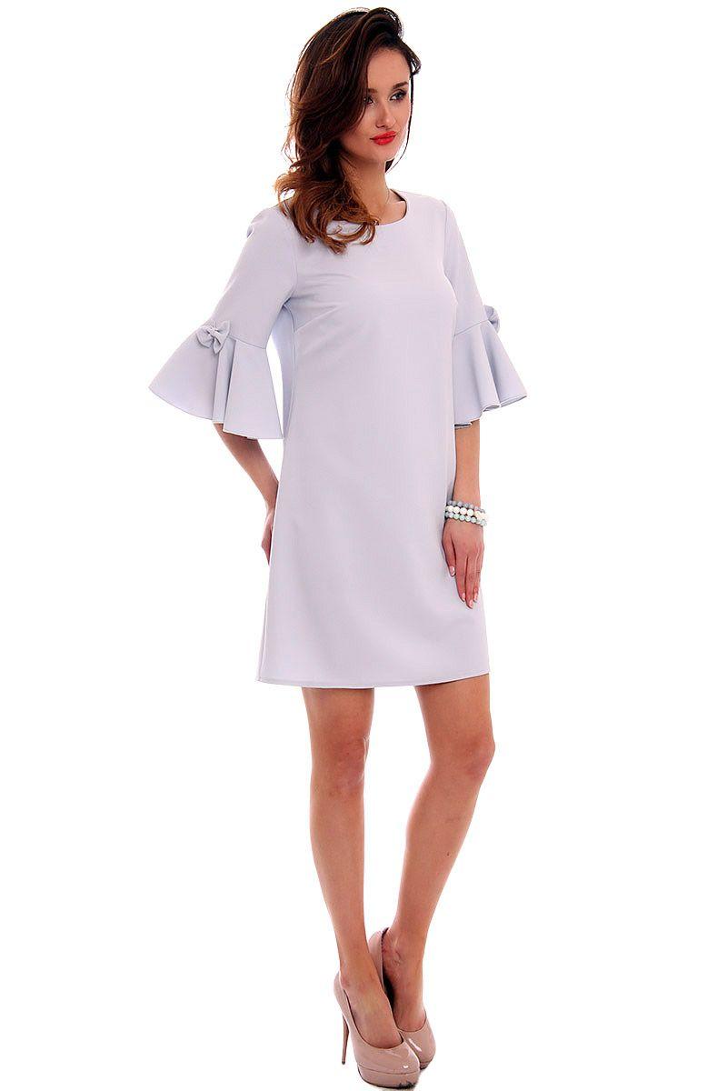 a2b93a54ff ... Elegancka sukienka szara  Mini sukienka z kokardkami  Sklep z modną  odzieżą CosmosModa