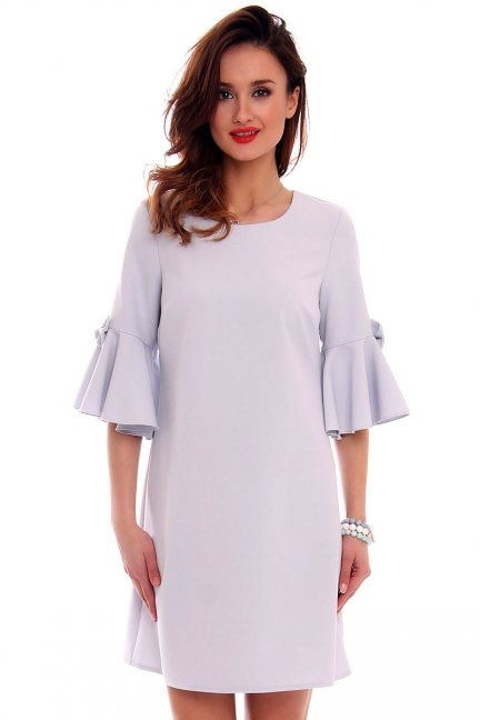 Trapezowa sukienka z kokardkami CM579 szara