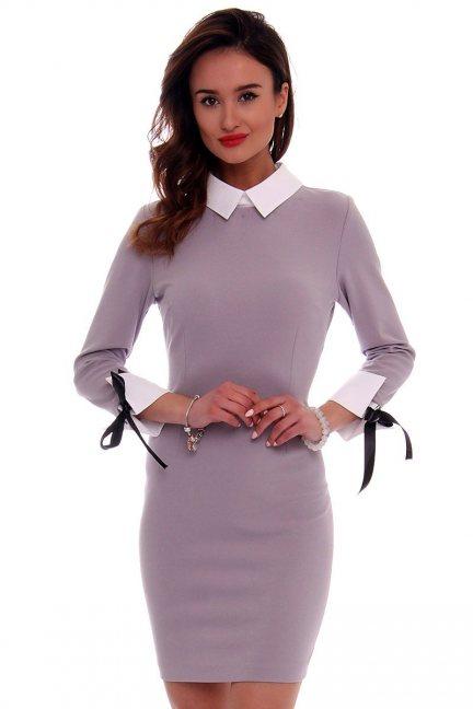 Sukienka pensjonarka mini CMK424 szara